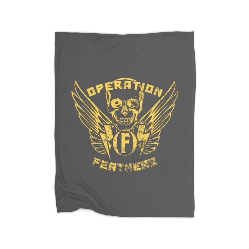Operation Feathers Logo - Distressed Gold on Dark Grey Home Fleece Blanket Blanket by The Evocative Workshop's SFX Art Studio Shop