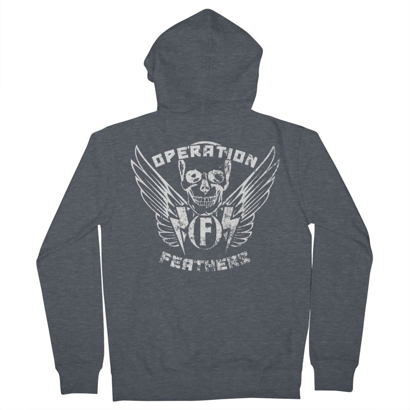 Operation Feathers Logo - Distressed White Men's French Terry Zip-Up Hoody by The Evocative Workshop's SFX Art Studio Shop