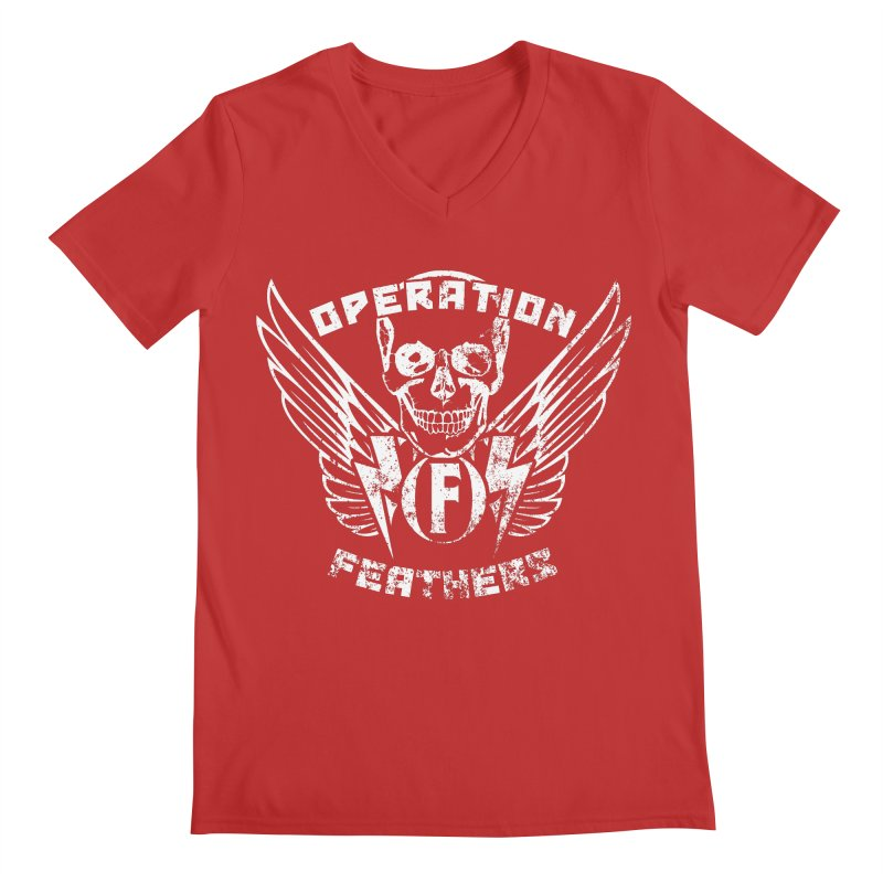 Operation Feathers Logo - Distressed White Men's V-Neck by The Evocative Workshop's SFX Art Studio Shop