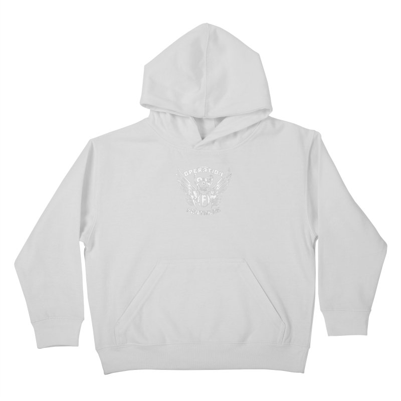 Operation Feathers Logo - Distressed White Kids Pullover Hoody by The Evocative Workshop's SFX Art Studio Shop
