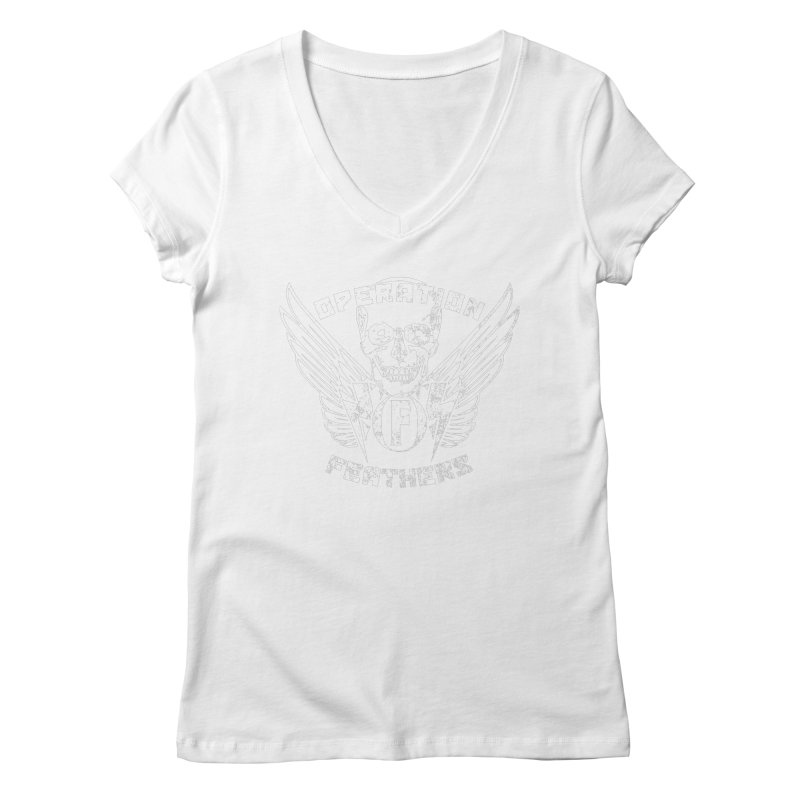 Operation Feathers Logo - Distressed White Women's V-Neck by The Evocative Workshop's SFX Art Studio Shop