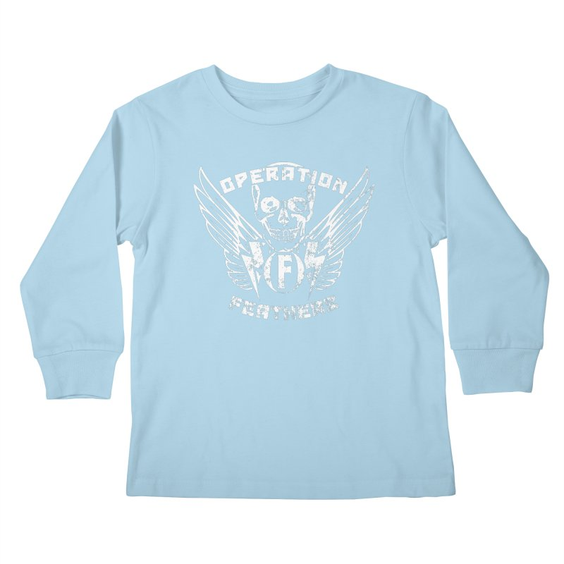 Operation Feathers Logo - Distressed White Kids Longsleeve T-Shirt by The Evocative Workshop's SFX Art Studio Shop