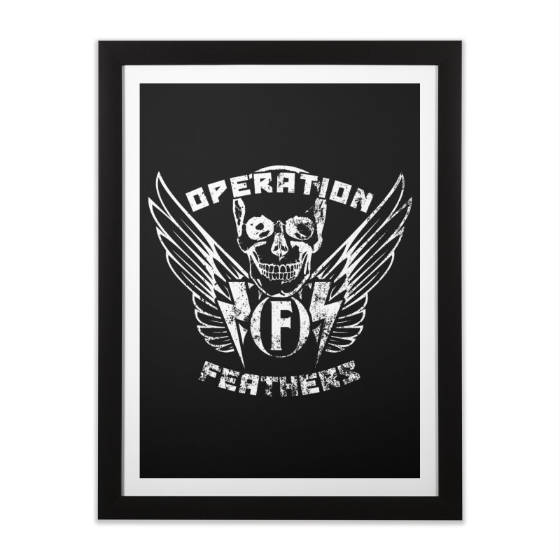 Operation Feathers Logo - Distressed White Home Framed Fine Art Print by The Evocative Workshop's SFX Art Studio Shop