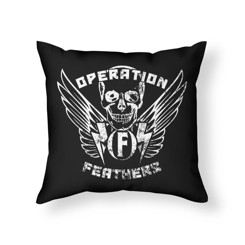 Operation Feathers Logo - Distressed White Home Throw Pillow by The Evocative Workshop's SFX Art Studio Shop