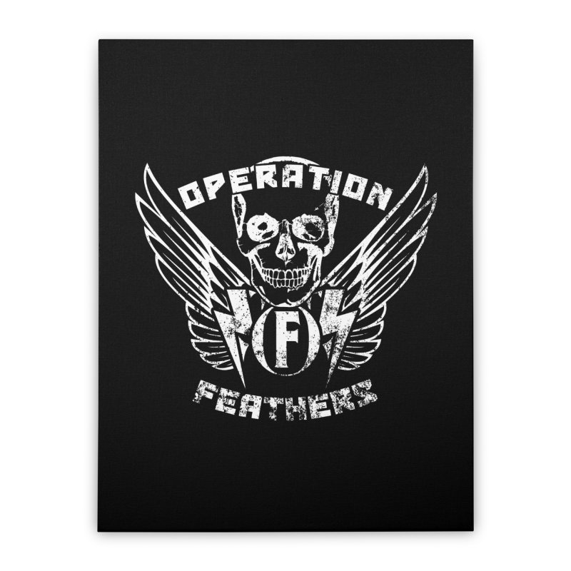 Operation Feathers Logo - Distressed White Home Stretched Canvas by The Evocative Workshop's SFX Art Studio Shop