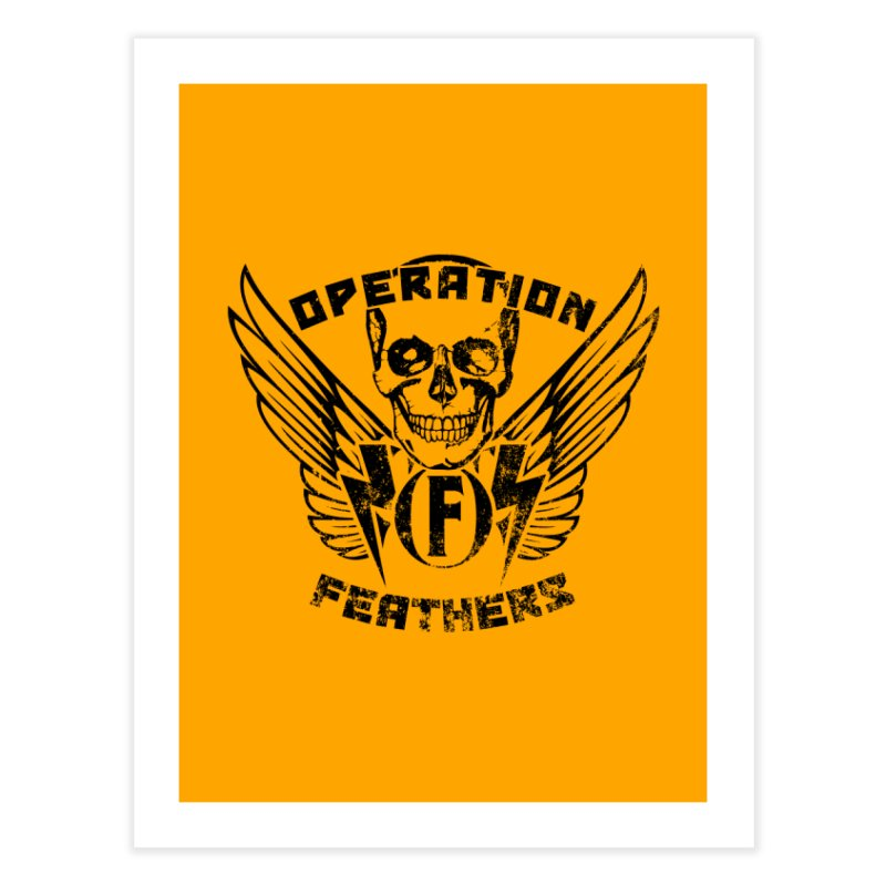 Operation Feathers Logo - Distressed Black on Orange Home Fine Art Print by The Evocative Workshop's SFX Art Studio Shop