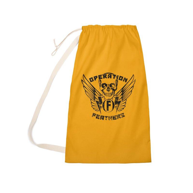 Operation Feathers Logo - Distressed Black on Orange Accessories Laundry Bag Bag by The Evocative Workshop's SFX Art Studio Shop