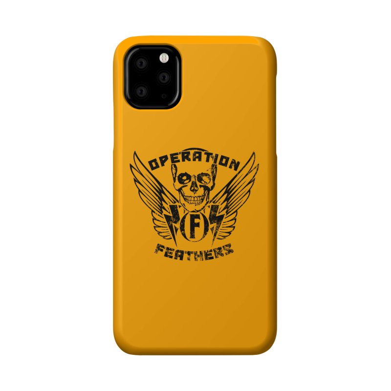 Operation Feathers Logo - Distressed Black on Orange Accessories Phone Case by The Evocative Workshop's SFX Art Studio Shop