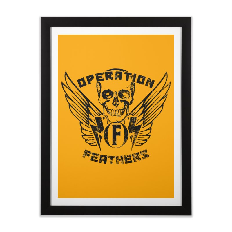 Operation Feathers Logo - Distressed Black on Orange Home Framed Fine Art Print by The Evocative Workshop's SFX Art Studio Shop