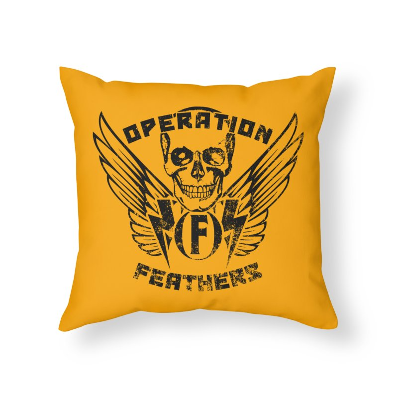 Operation Feathers Logo - Distressed Black on Orange Home Throw Pillow by The Evocative Workshop's SFX Art Studio Shop