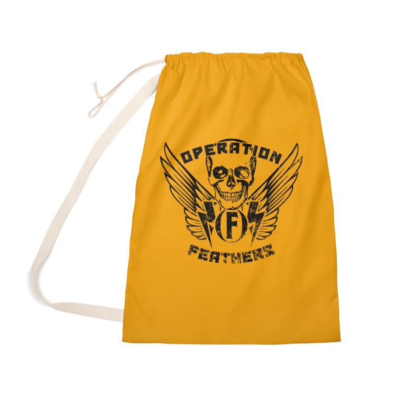 Operation Feathers Logo - Distressed Black on Orange Accessories Bag by The Evocative Workshop's SFX Art Studio Shop