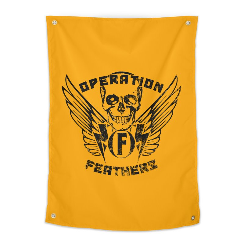 Operation Feathers Logo - Distressed Black on Orange Home Tapestry by The Evocative Workshop's SFX Art Studio Shop