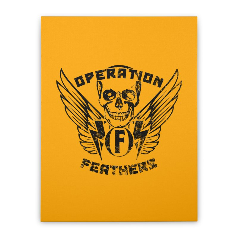 Operation Feathers Logo - Distressed Black on Orange Home Stretched Canvas by The Evocative Workshop's SFX Art Studio Shop
