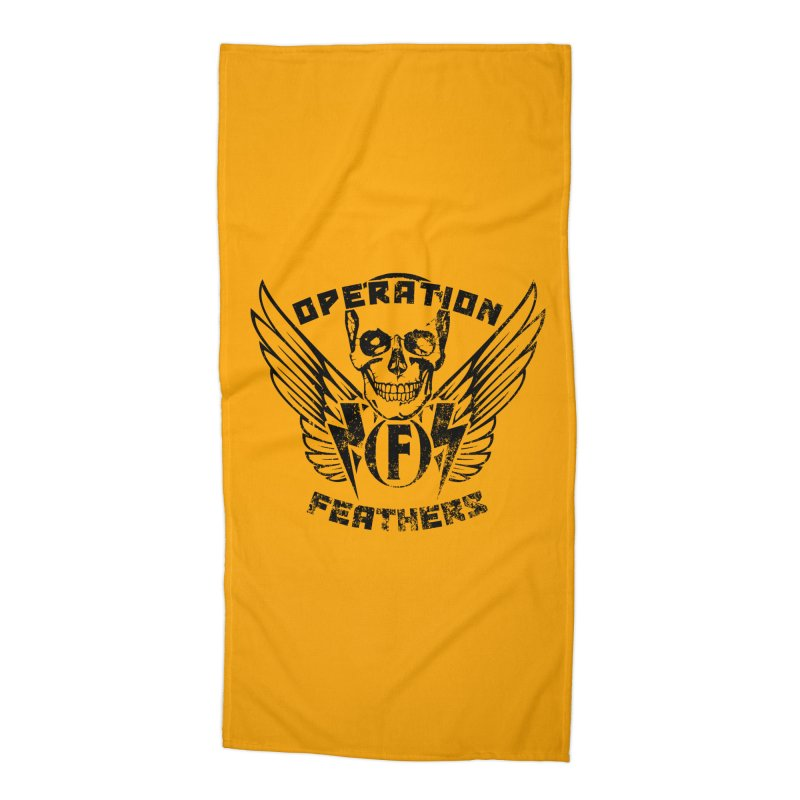 Operation Feathers Logo - Distressed Black on Orange Accessories Beach Towel by The Evocative Workshop's SFX Art Studio Shop