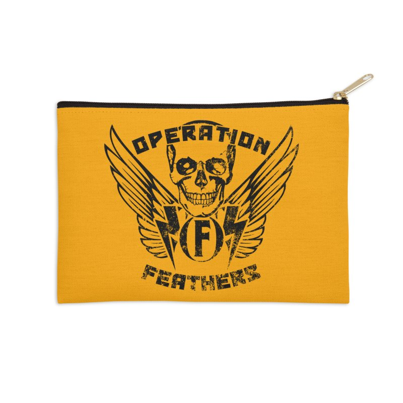 Operation Feathers Logo - Distressed Black on Orange Accessories Zip Pouch by The Evocative Workshop's SFX Art Studio Shop