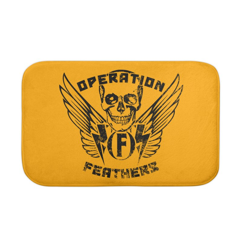 Operation Feathers Logo - Distressed Black on Orange Home Bath Mat by The Evocative Workshop's SFX Art Studio Shop