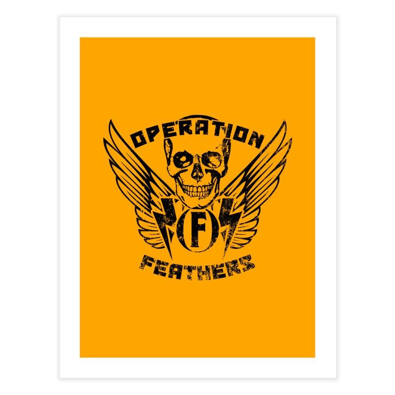 Operation Feathers Logo - Distressed Black on Orange Home Fine Art Print by The Evocative Workshop's SFX Art Studio Shop