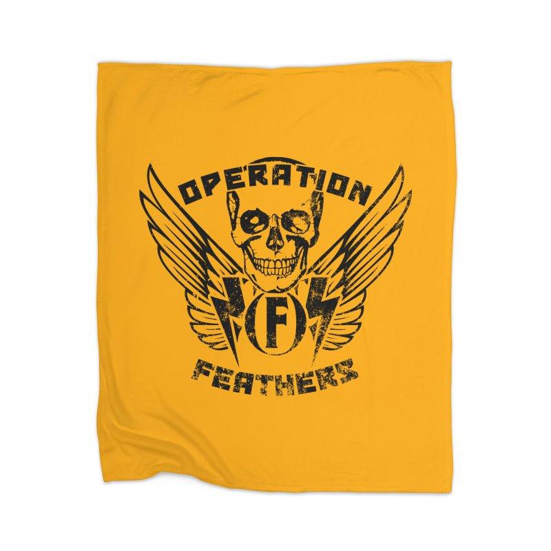 Operation Feathers Logo - Distressed Black on Orange Home Blanket by The Evocative Workshop's SFX Art Studio Shop