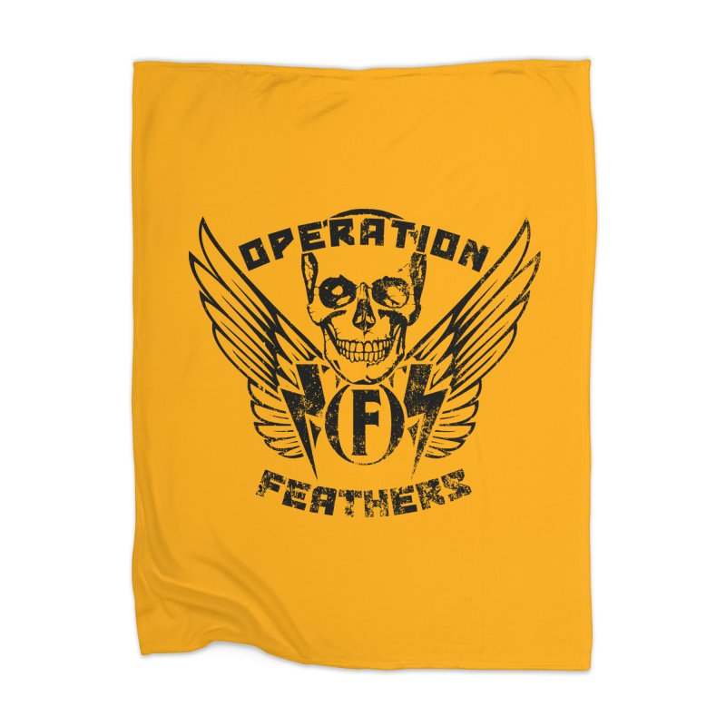Operation Feathers Logo - Distressed Black on Orange Home Blanket by The Evocative Workshop's SFX Art Studio Shop