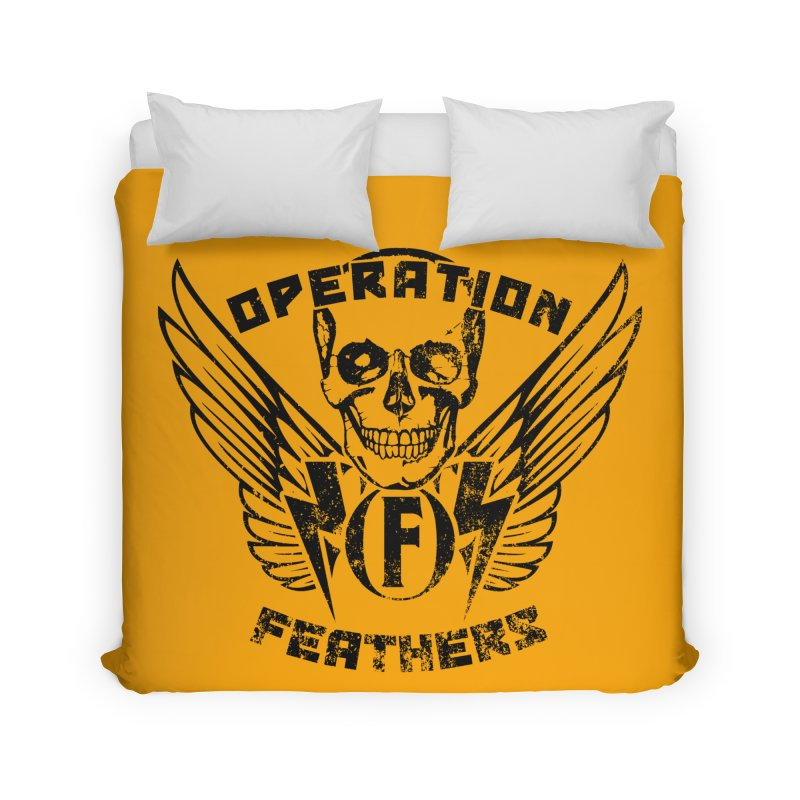 Operation Feathers Logo - Distressed Black on Orange Home Duvet by The Evocative Workshop's SFX Art Studio Shop