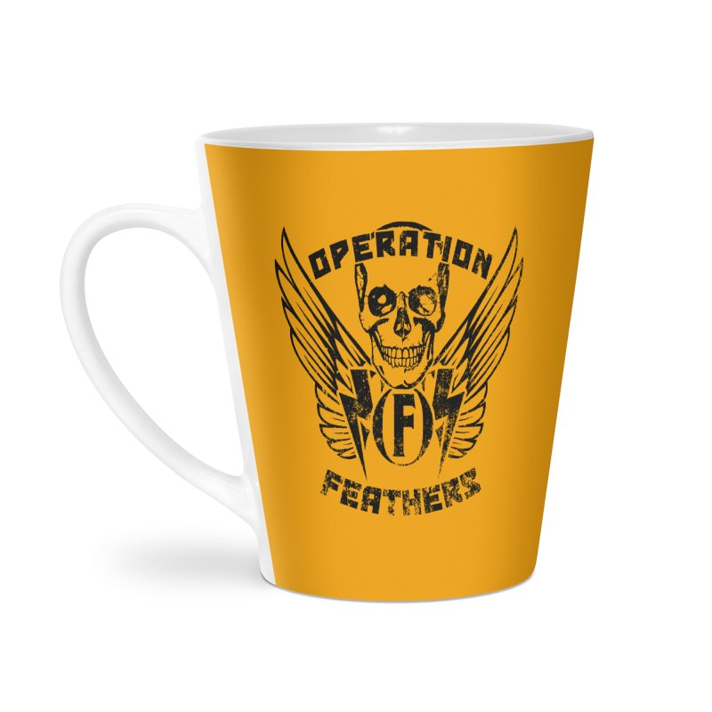 Operation Feathers Logo - Distressed Black on Orange Accessories Mug by The Evocative Workshop's SFX Art Studio Shop