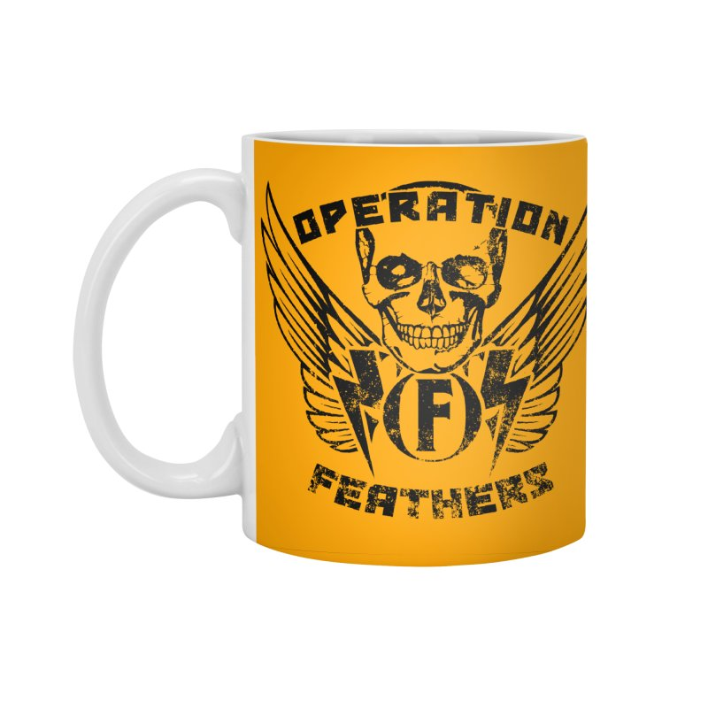 Operation Feathers Logo - Distressed Black on Orange Accessories Standard Mug by The Evocative Workshop's SFX Art Studio Shop