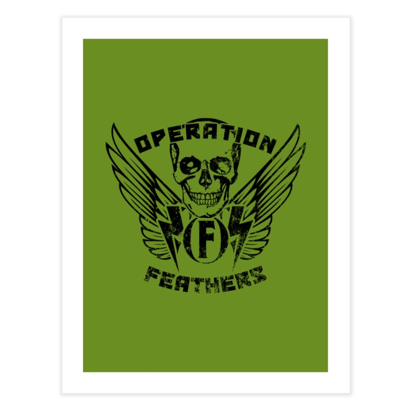 Operation Feathers Logo - Distressed Black on Olive Drab Home Fine Art Print by The Evocative Workshop's SFX Art Studio Shop