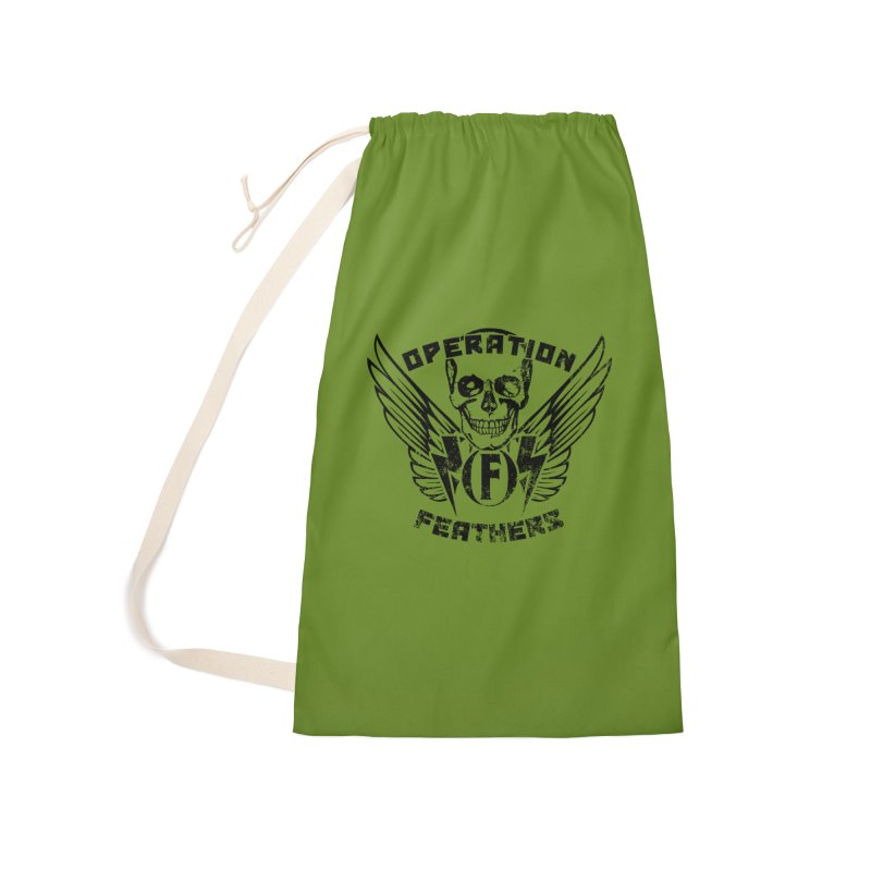 Operation Feathers Logo - Distressed Black on Olive Drab Accessories Laundry Bag Bag by The Evocative Workshop's SFX Art Studio Shop