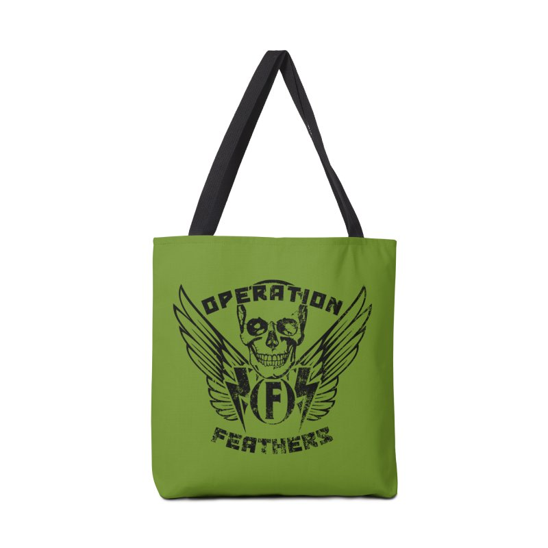Operation Feathers Logo - Distressed Black on Olive Drab Accessories Bag by The Evocative Workshop's SFX Art Studio Shop