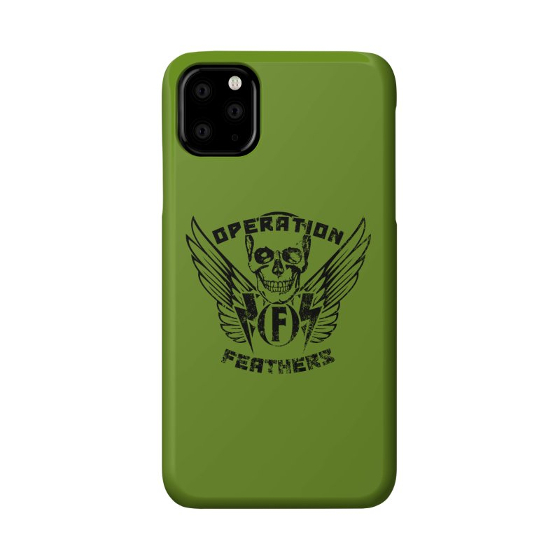 Operation Feathers Logo - Distressed Black on Olive Drab Accessories Phone Case by The Evocative Workshop's SFX Art Studio Shop