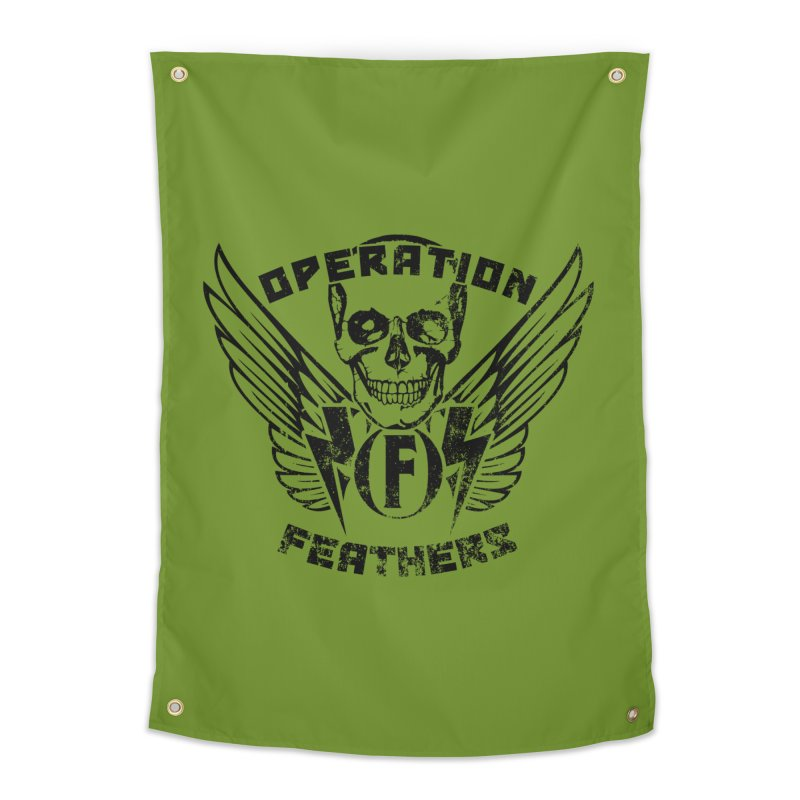 Operation Feathers Logo - Distressed Black on Olive Drab Home Tapestry by The Evocative Workshop's SFX Art Studio Shop