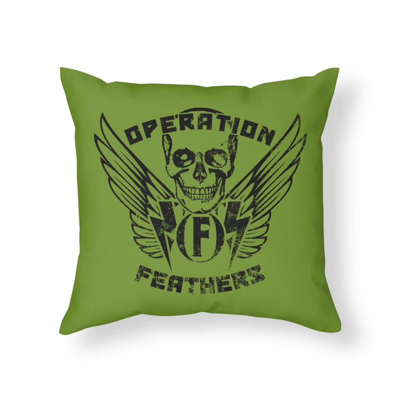 Operation Feathers Logo - Distressed Black on Olive Drab Home Throw Pillow by The Evocative Workshop's SFX Art Studio Shop