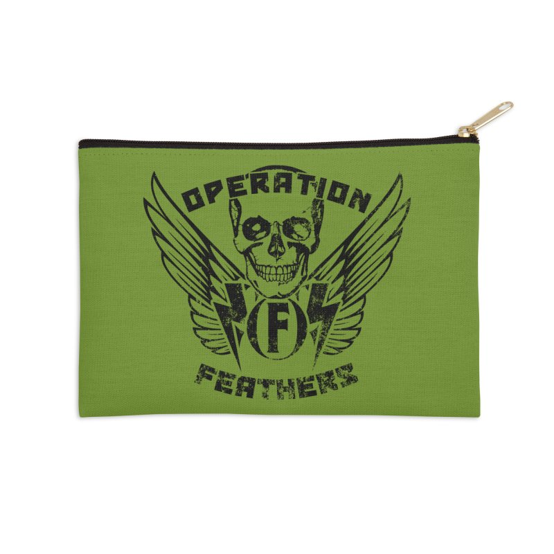 Operation Feathers Logo - Distressed Black on Olive Drab Accessories Zip Pouch by The Evocative Workshop's SFX Art Studio Shop