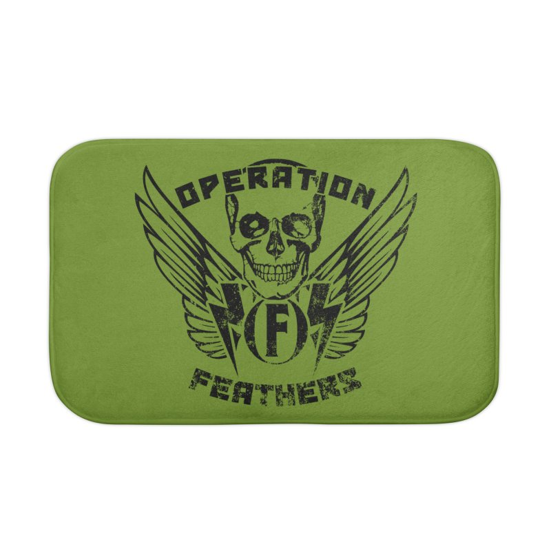Operation Feathers Logo - Distressed Black on Olive Drab Home Bath Mat by The Evocative Workshop's SFX Art Studio Shop