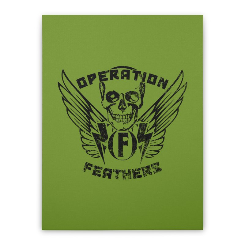 Operation Feathers Logo - Distressed Black on Olive Drab Home Stretched Canvas by The Evocative Workshop's SFX Art Studio Shop