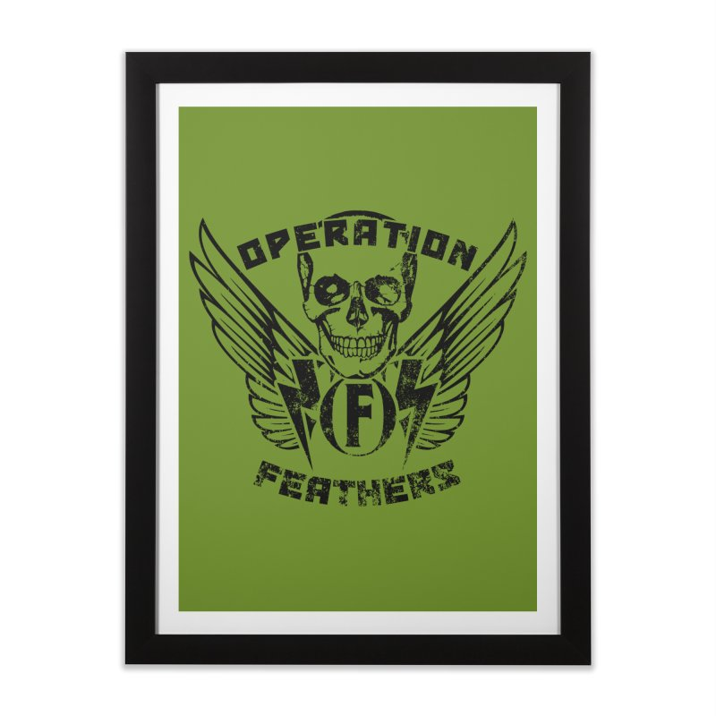 Operation Feathers Logo - Distressed Black on Olive Drab Home Framed Fine Art Print by The Evocative Workshop's SFX Art Studio Shop