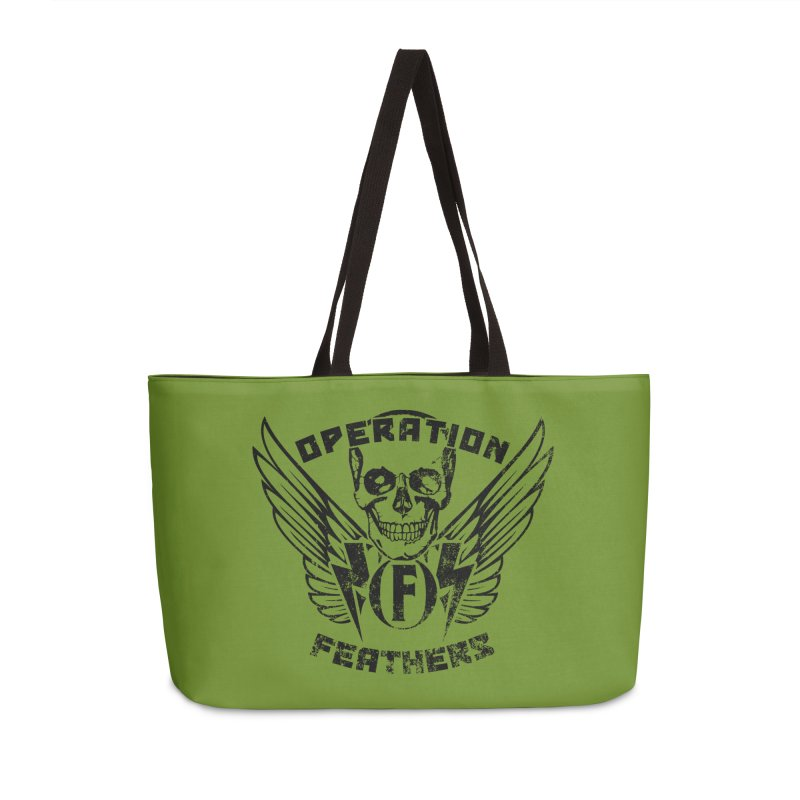 Operation Feathers Logo - Distressed Black on Olive Drab Accessories Weekender Bag Bag by The Evocative Workshop's SFX Art Studio Shop