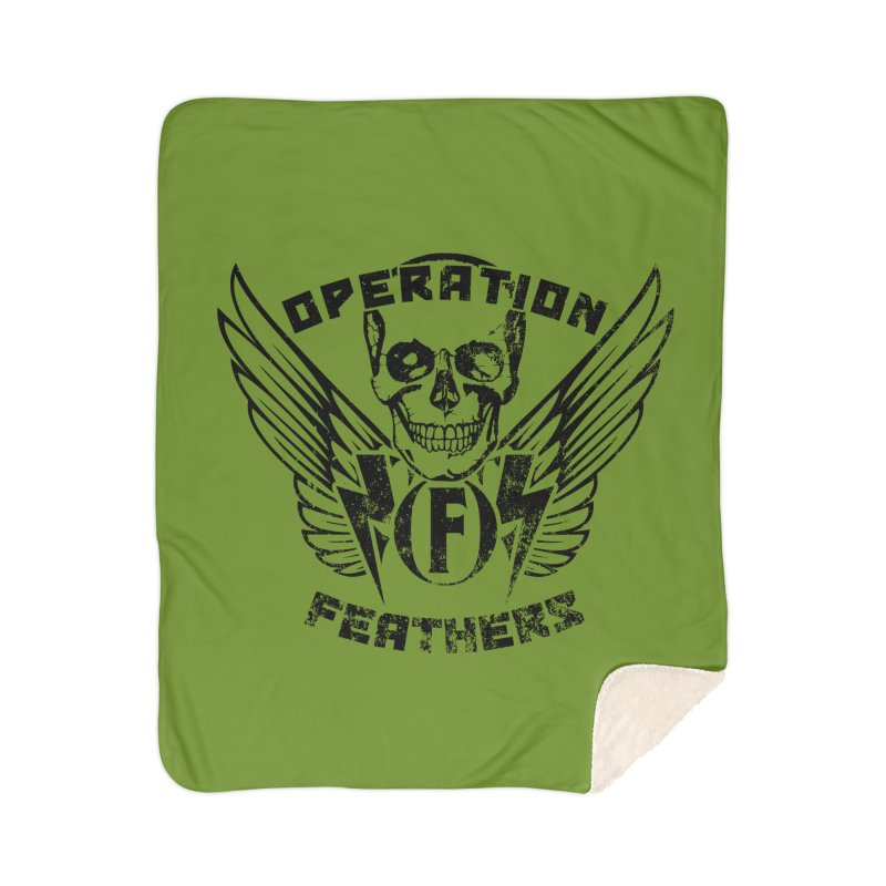 Operation Feathers Logo - Distressed Black on Olive Drab Home Sherpa Blanket Blanket by The Evocative Workshop's SFX Art Studio Shop