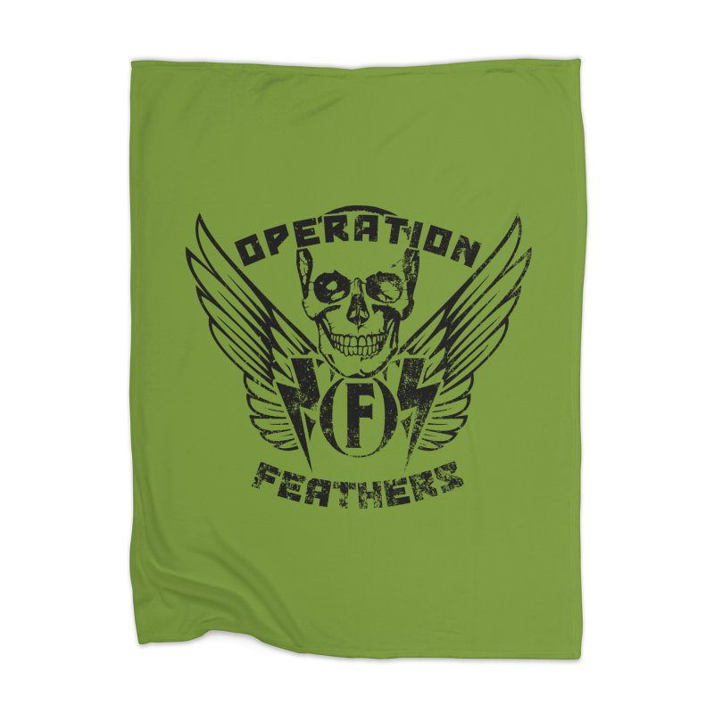 Operation Feathers Logo - Distressed Black on Olive Drab Home Blanket by The Evocative Workshop's SFX Art Studio Shop