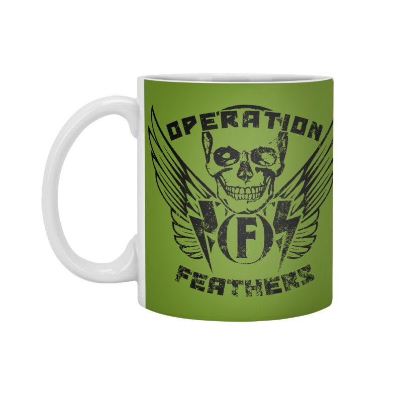Operation Feathers Logo - Distressed Black on Olive Drab Accessories Mug by The Evocative Workshop's SFX Art Studio Shop