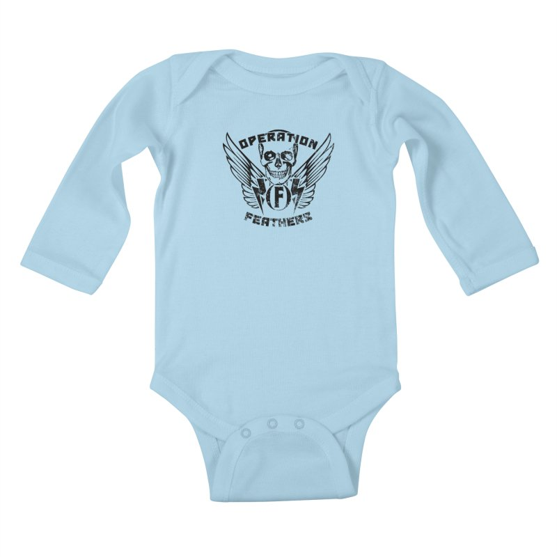 Operation Feathers Logo - Distressed Black Kids Baby Longsleeve Bodysuit by The Evocative Workshop's SFX Art Studio Shop