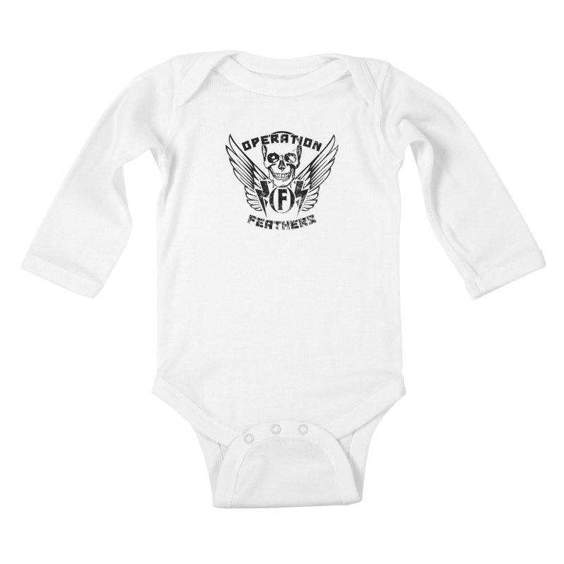 Operation Feathers Logo - Distressed Black Kids Baby Longsleeve Bodysuit by The Evocative Workshop's SFX Art Studio Shop