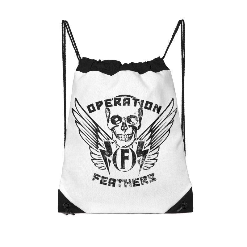 Operation Feathers Logo - Distressed Black Accessories Drawstring Bag Bag by The Evocative Workshop's SFX Art Studio Shop