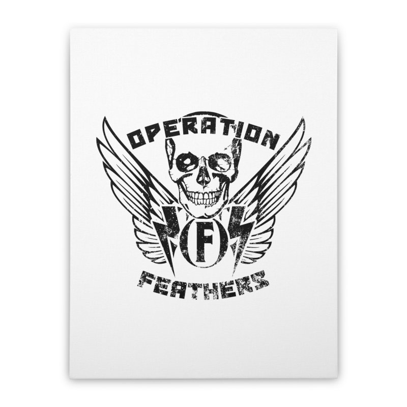 Operation Feathers Logo - Distressed Black Home Stretched Canvas by The Evocative Workshop's SFX Art Studio Shop
