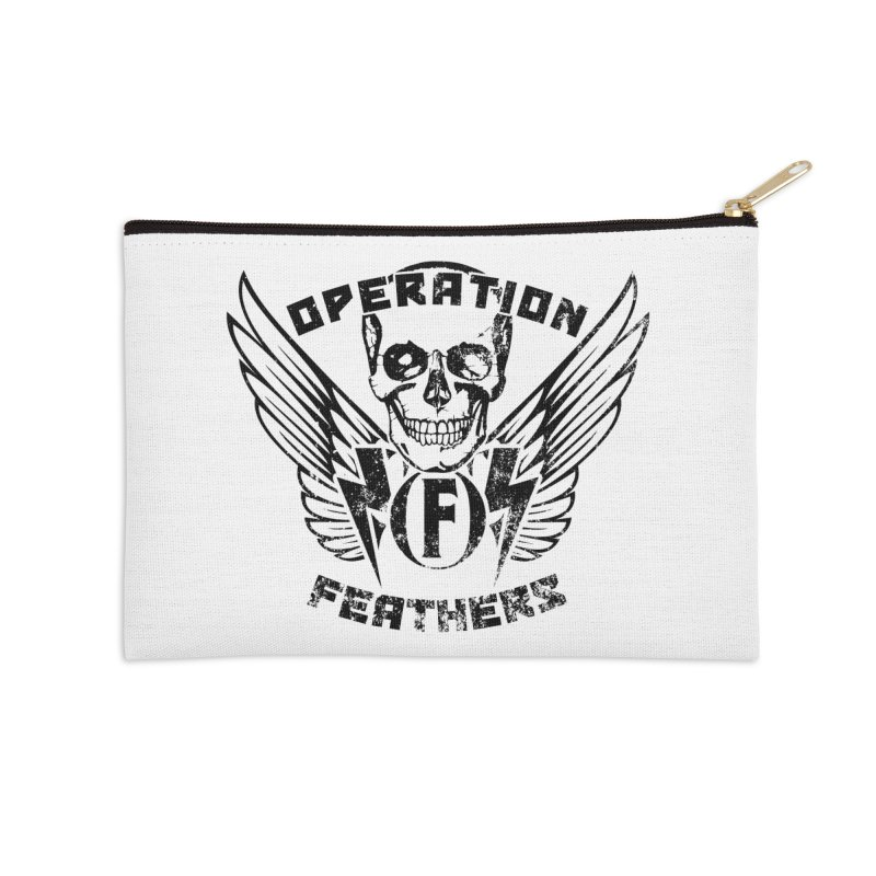Operation Feathers Logo - Distressed Black Accessories Zip Pouch by The Evocative Workshop's SFX Art Studio Shop
