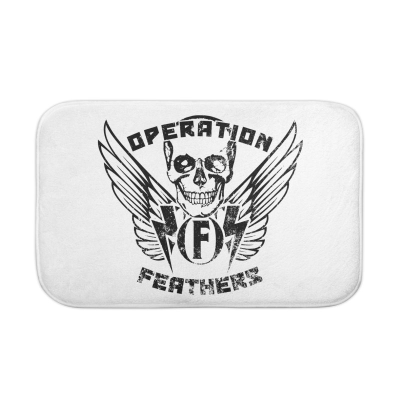 Operation Feathers Logo - Distressed Black Home Bath Mat by The Evocative Workshop's SFX Art Studio Shop