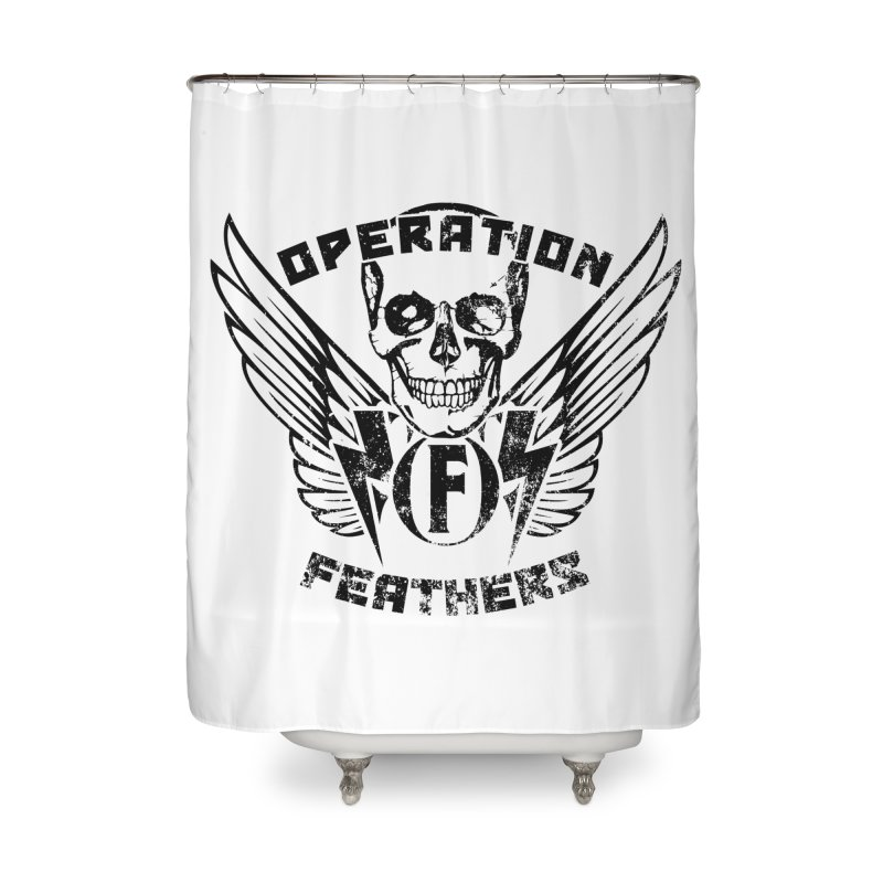 Operation Feathers Logo - Distressed Black Home Shower Curtain by The Evocative Workshop's SFX Art Studio Shop
