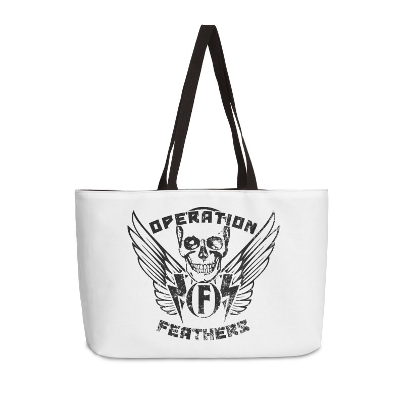 Operation Feathers Logo - Distressed Black Accessories Weekender Bag Bag by The Evocative Workshop's SFX Art Studio Shop