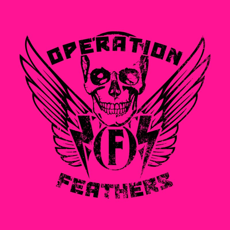 Operation Feathers Logo - Distressed Black on Deep Pink Accessories Mug by The Evocative Workshop's SFX Art Studio Shop