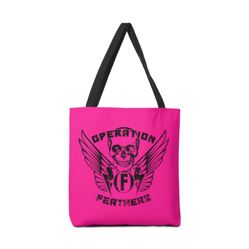 Operation Feathers Logo - Distressed Black on Deep Pink Accessories Bag by The Evocative Workshop's SFX Art Studio Shop